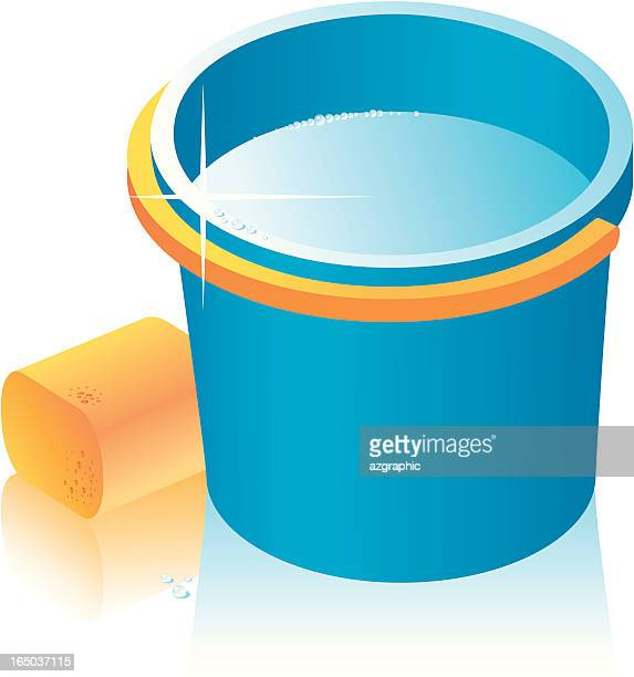 vector bucket and bast whisp. - puddle stock illustrations, clip art, cartoons, & icons