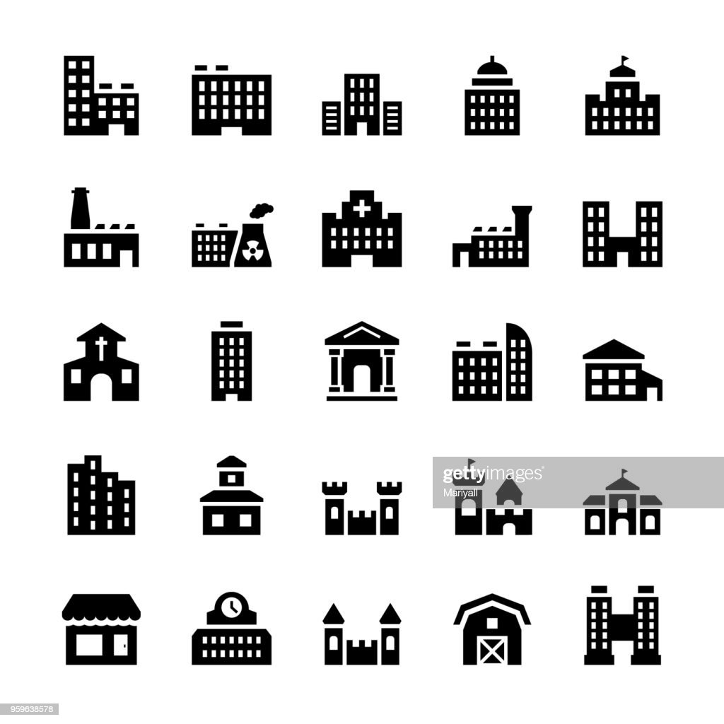 Vector building icons set in flat style.