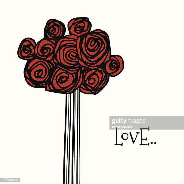 vector bunch of hand drawn red roses