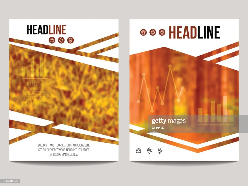 Vector business brochure design template with blur background and geometrical shapes. Can be used for presentation, web, flyer layout, elements for magazine, cover, poster.