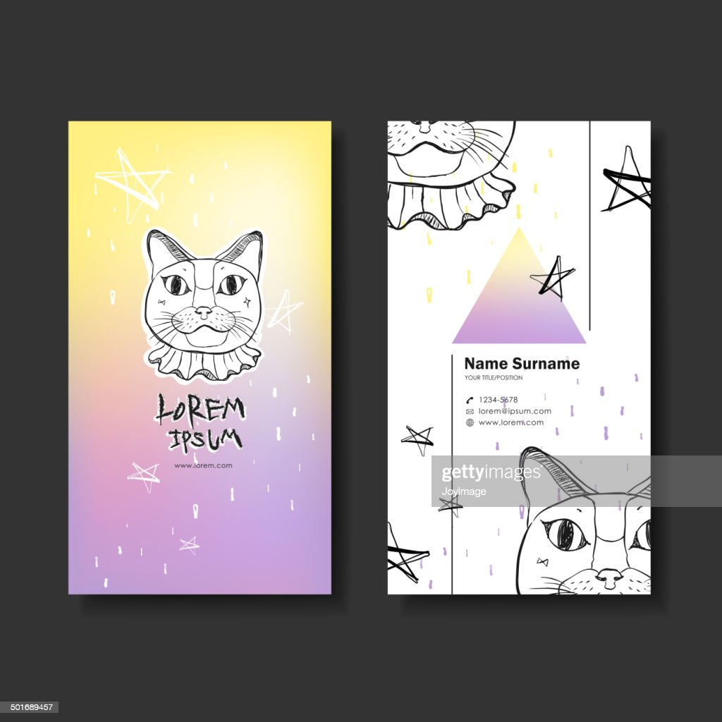 vector business card design of hand drawn cat