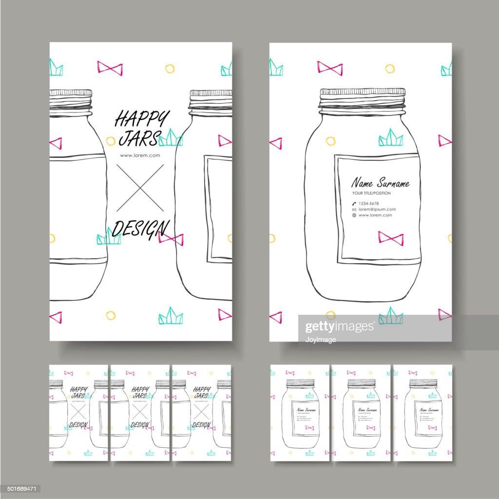 vector business card design of hand drawn jar