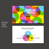vector business card set with trichromatic