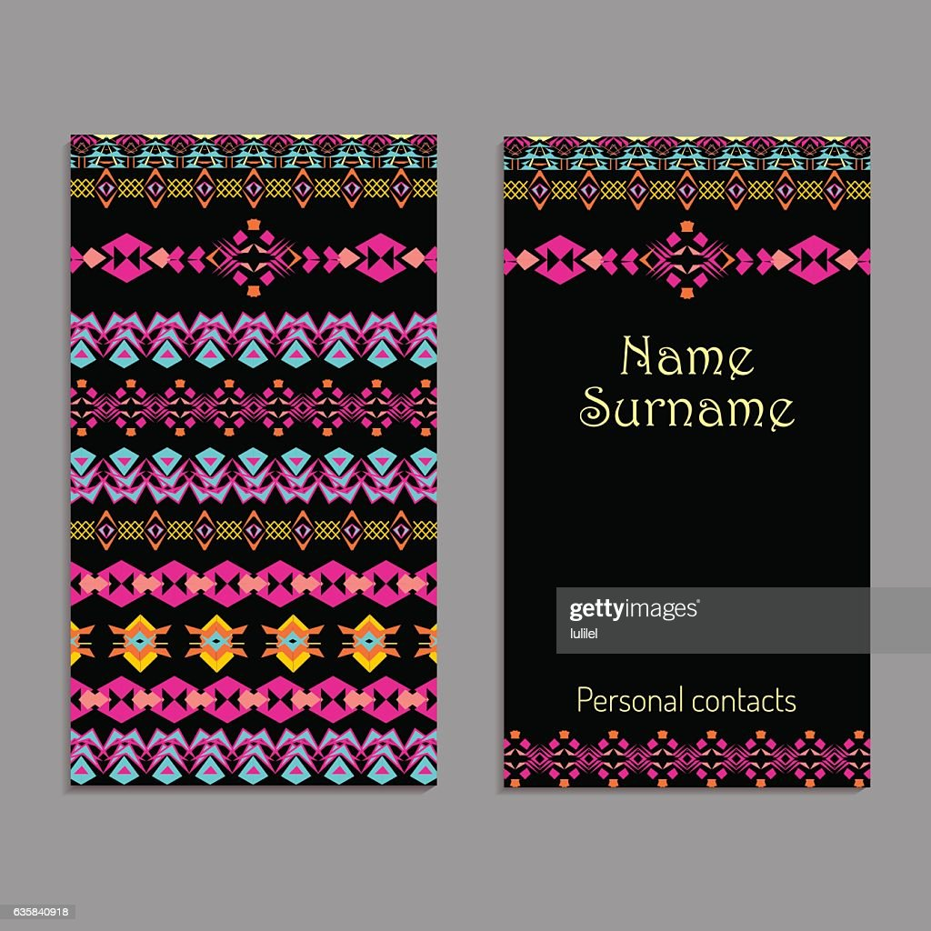 vector business card template ethnic tribal ornaments boho style