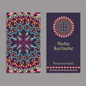 Vector business card template. Ethnic tribal ornaments with mandala patterns. Boho style