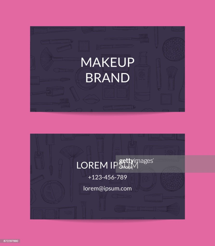 Vector business card template for beauty brand or makeup artist