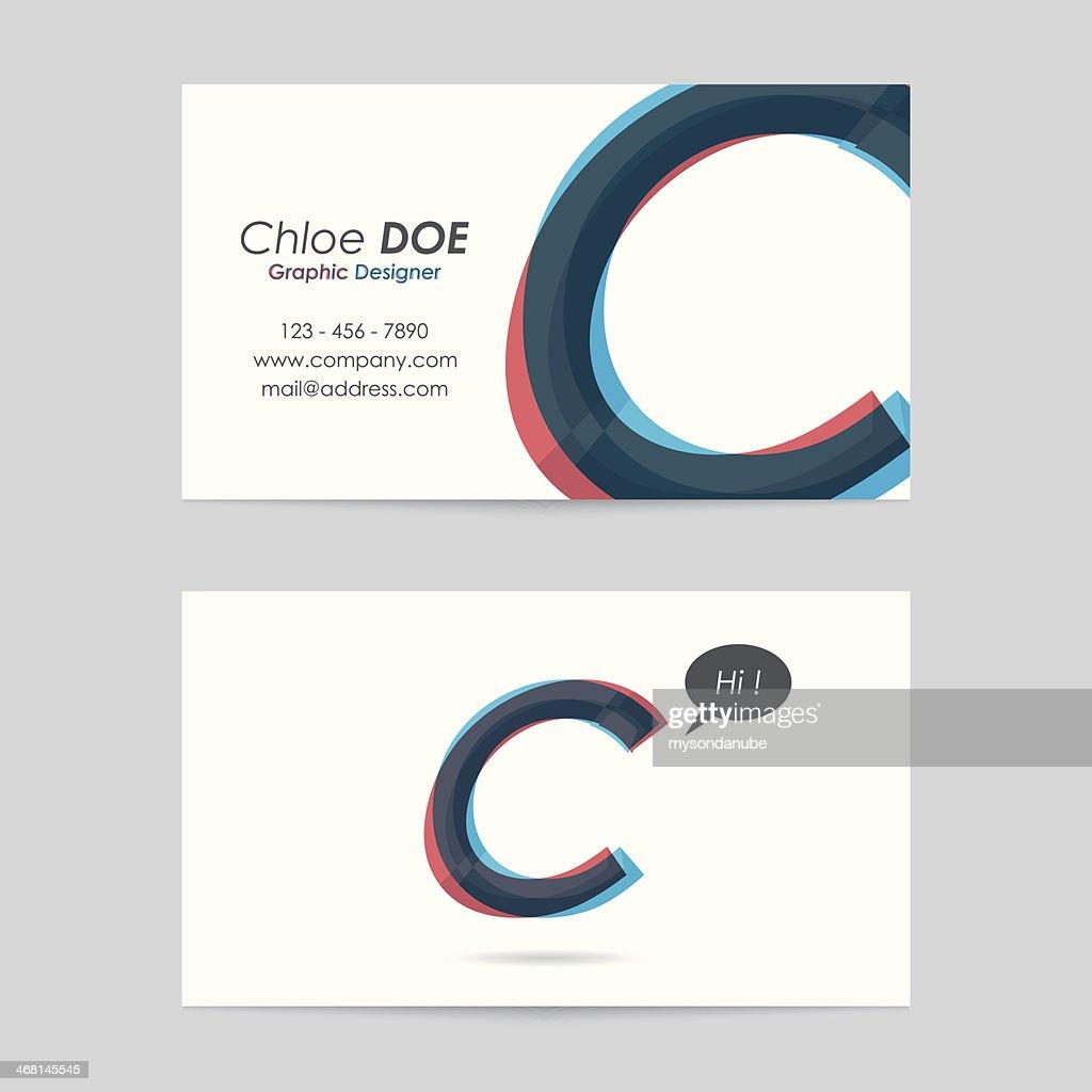vector business card template - letter c : stock illustration