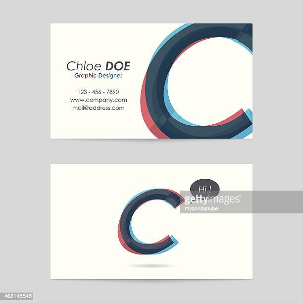 vector business card template - letter c - letter c stock illustrations, clip art, cartoons, & icons