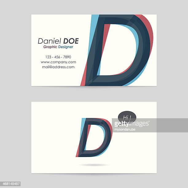 vector business card template - letter d - letter d stock illustrations, clip art, cartoons, & icons