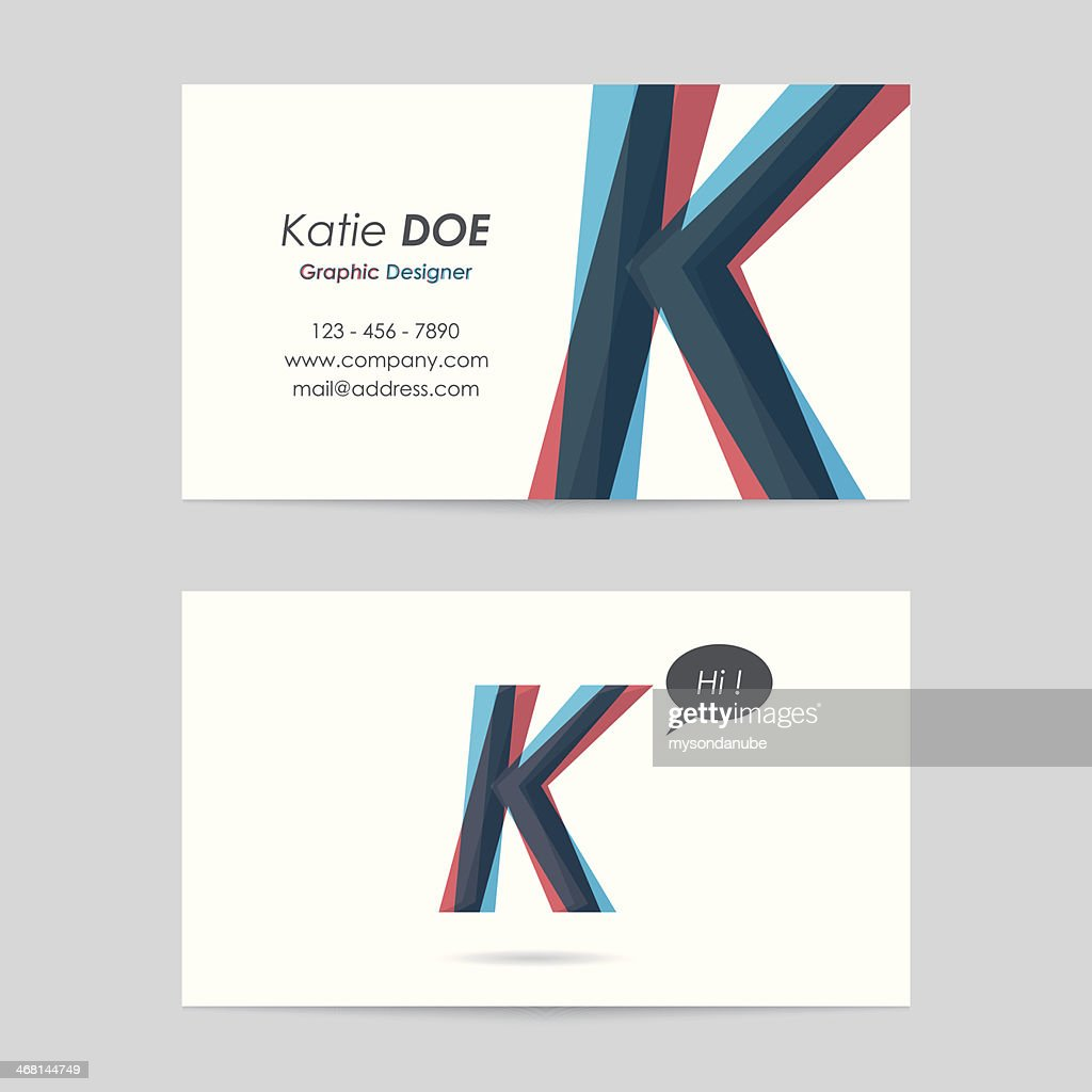 Vector Business Card Template Letter K Vector Art | Getty Images