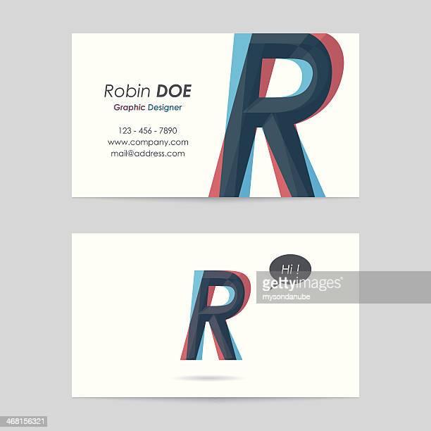 vector business card template - letter r - letter r stock illustrations