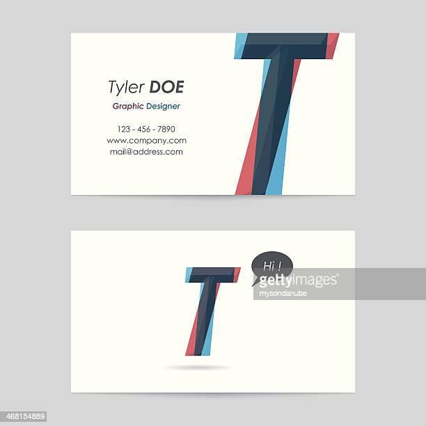 illustrations, cliparts, dessins animés et icônes de vecteur de modèle de cartes de visite-lettre t - ��t��