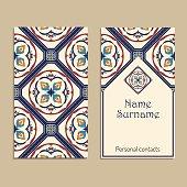 Vector business card template. Portuguese, Moroccan; Azulejo; Arabic; asian ornaments