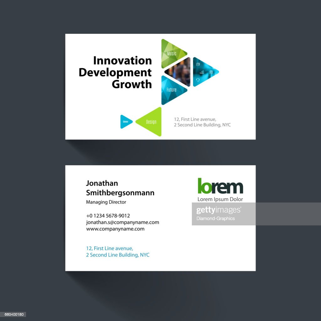vector business card template with colourful triangular shapes f