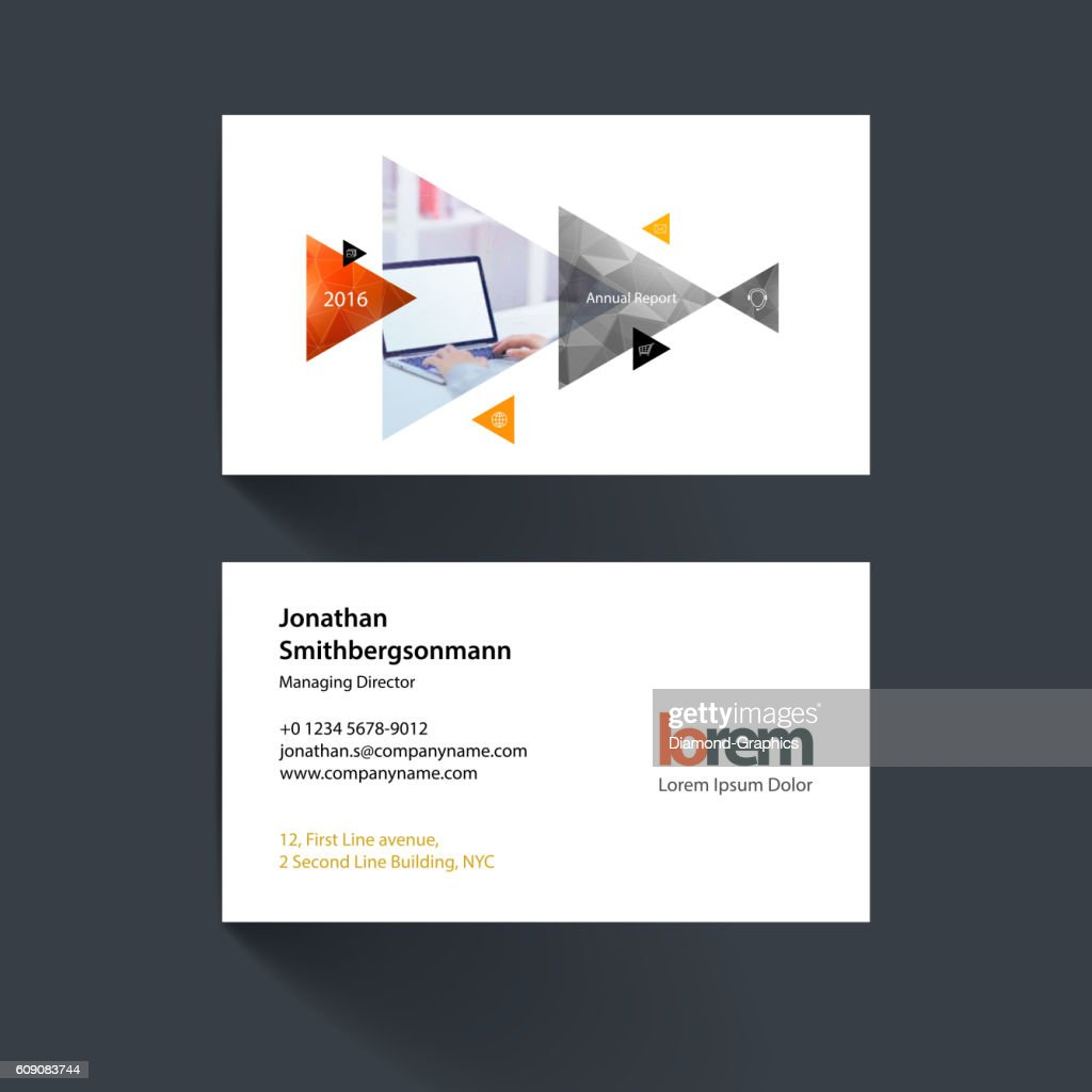Vector business card template with moving triangles and arrows f
