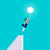 Vector business concept illustration with business lady flying up with air balloon from stairs isolated on blue background.