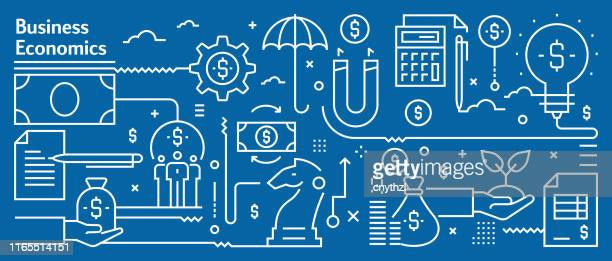 vector business economics banner design in trendy linear style. line art style abstract pattern for web page, banner, presentation - business finance and industry stock illustrations