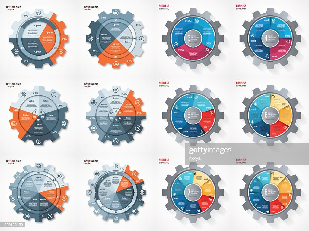 Vector business gear style circle infographic set