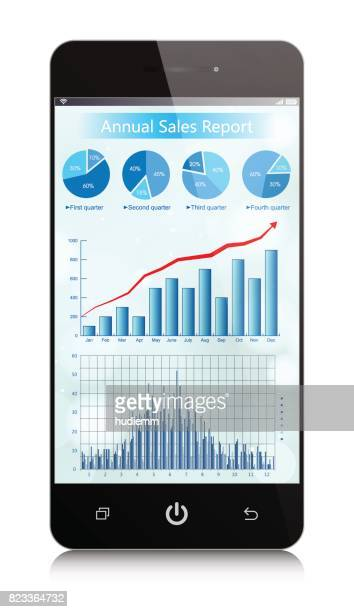 Vector Business growth chart in Smart phone isolated