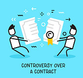 Vector business illustration of people pulling contract in different and breaking it up on blue background.