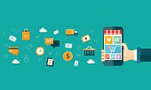 vector business mobile online shopping on mobile device