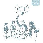 Vector business people meeting teamwork sketch