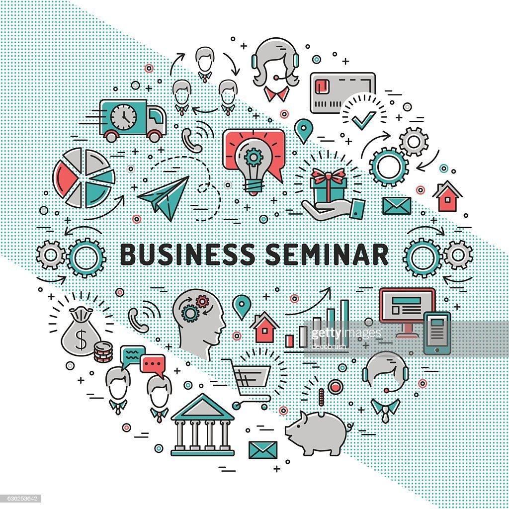 Vector business seminar design templates, line art icons