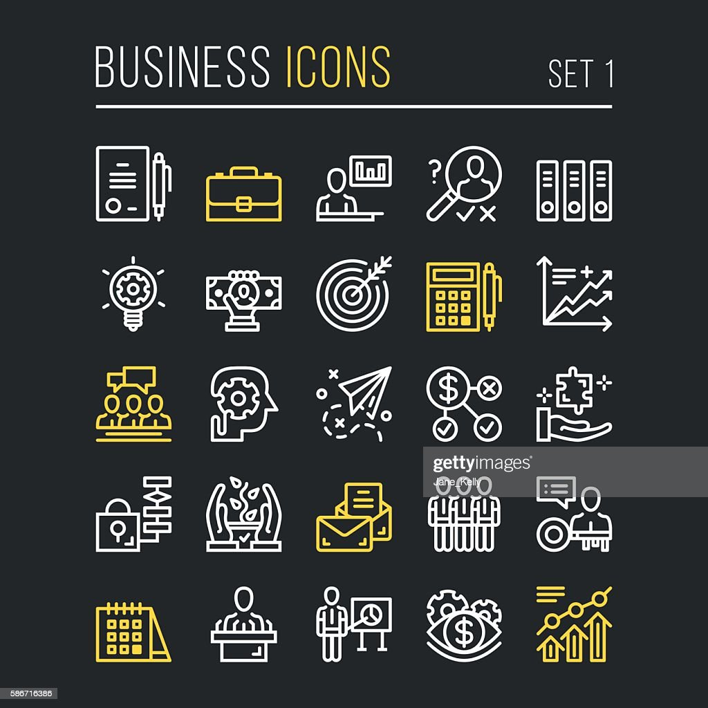 Vector business thin line icons set