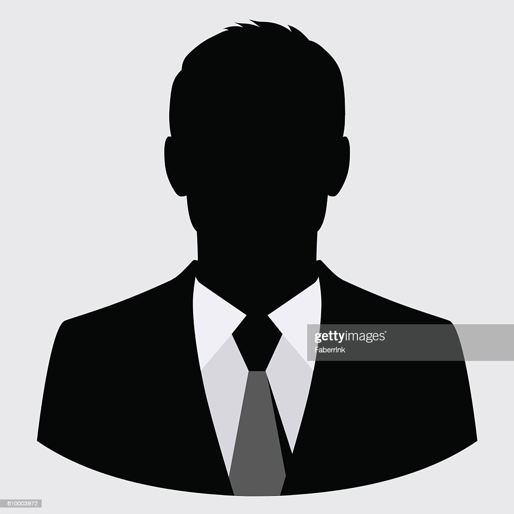 Vector businessman black silhouette isolated