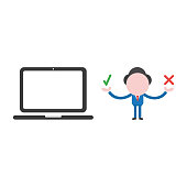 Vector businessman character holding check and x marks with laptop computer