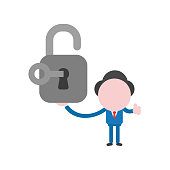 Vector businessman character holding open padlock with key and showing thumbs up