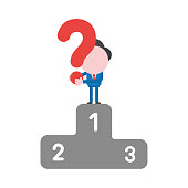 Vector businessman character holding question mark on first place of winners podium