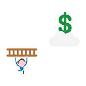 Vector businessman character running and carrying wooden ladder to reach dollar symbol on cloud