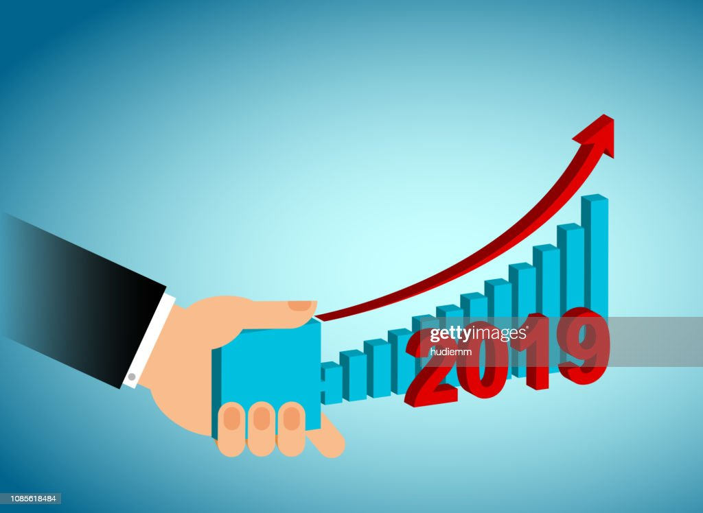Vector businessman holding bar graph pattern (Business Concept) in 2019 : stock illustration