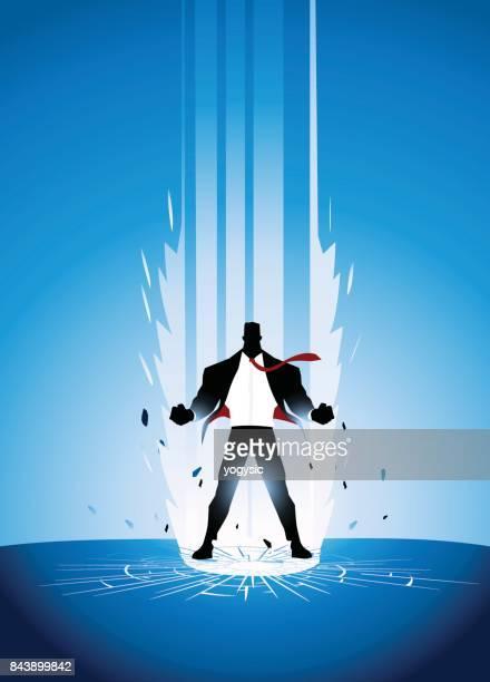 Vector empresário super-herói em Pose de sobrecarga de energia
