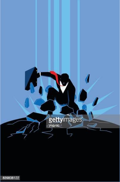 Vector Businessman Superhero Landing Silhouette