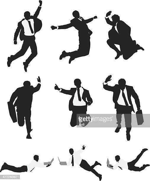 Vector businessmen leaping through the air