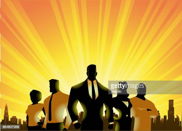vector businessmen silhouette in the city - heroes stock illustrations