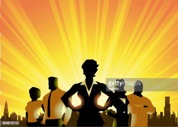 vector businessmen silhouette in the city - superhero stock illustrations