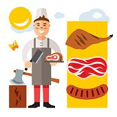 Vector Butcher. Flat style colorful Cartoon illustration.