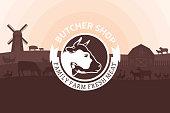 Vector butcher shop illustration