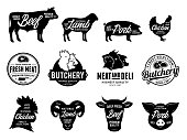 Vector butchery labels and farm animals icons