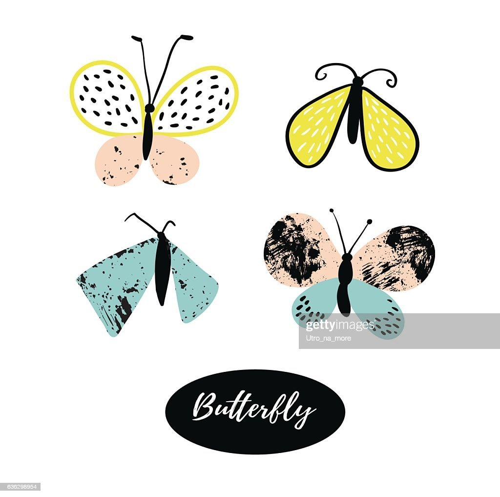 Vector butterfly elements isolated on the white background.