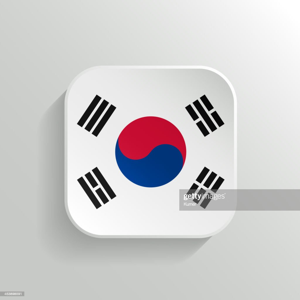 Vector Button - South Korea Flag Icon