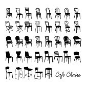 Vector cafe chair collection, silhouette cafe chairs