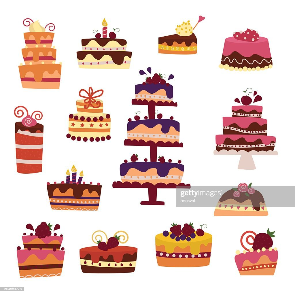 Vector cake collection isolated on white background