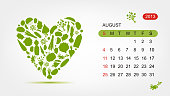 Vector calendar 2013, august. Art heart design