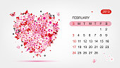 Vector calendar 2013, february. Art heart design