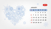 Vector calendar 2013, january. Art heart design