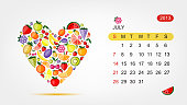 Vector calendar 2013, july. Art heart design